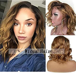 Body Wave Human Hair Ombre Lace Front Wigs with Baby Hair Short Bob Wavy 1b27 Two Tone Brazilian Hair for Black Women BLeached Knots (12inch, Lace front wig)