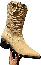 Dasongff Hoge laarzen voor dames, plat borduurwerk, lange laarzen voor vrouwen, kant, sneeuwlaarzen, cowboylaarzen, waterd...