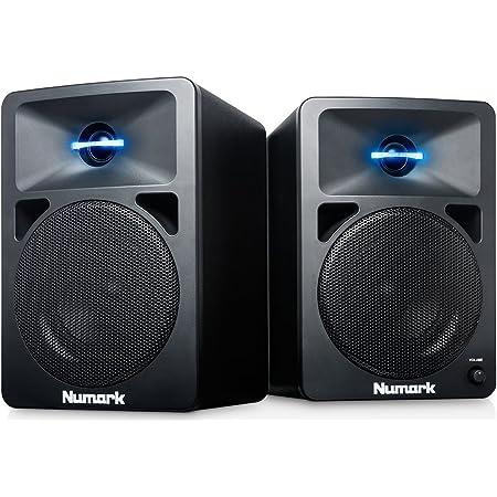 Numark N-Wave 360 – Enceintes monitoring DJ 60 W Haute-Fidélité et Compactes avec Tweeter à Éclairage LED, Bouton de Volume Dédié, Haut-Parleurs RCA
