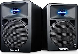 Numark N-Wave 360 - Monitores de DJ de Sobremesa Compactos de Rango Completo y 60 W con Iluminación LED en el Tweeter, Control de Volumen Dedicado y Entradas RCA para una Fácil Conectividad