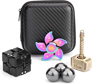 Handheld Mini Fidget Toy Set Fidget Flippy Chain,Infinity Cube,Fidget Cube,Fidget Hammer Spinner Stress and Anxiety Relief...