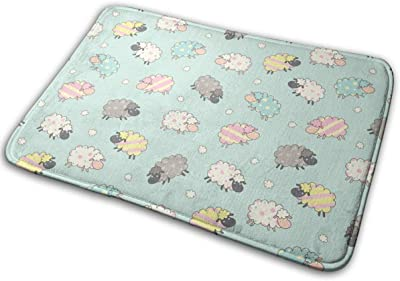 Cute Sheep Carpet Non-Slip Welcome Front Doormat Entryway Carpet Washable Outdoor Indoor Mat Room Rug 15.7 X 23.6 inch