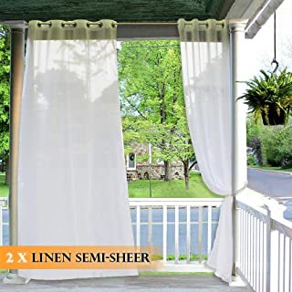 RYB HOME Outdoor Sheer Curtains - Linen Look Semi Sheer Curtains for Patio (2 Ropes Included, Wide 54 by Long 84, 2 Panels), Waterproof Indoor Outdoor Drapes for Gazebo Pergola Balcony Pool Hut