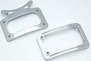 Kuryakyn 3162 Motorcycle Accent Accessory: Curved License Plate Holder Frame on Bullet Style Light Bar for 1986-2019 Harley-Davidson Motorcycles, Chrome