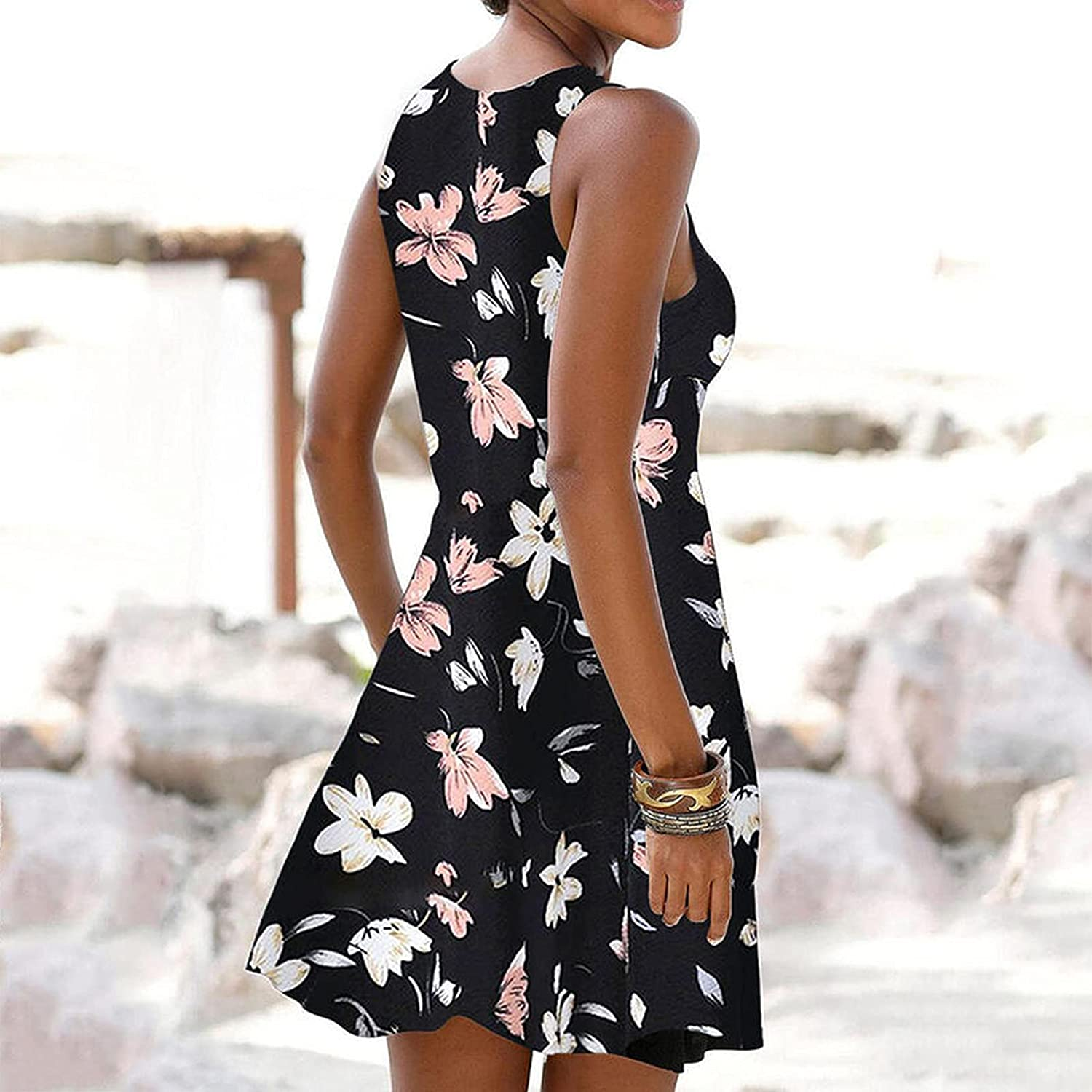 XYING Women's Summer Tank Dresses Casual Sleeveless Sundress Loose Fit Crew Neck Sexy Midi Dress Floral Printed Beach Dress