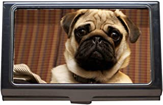 Business Card Holder Wallet Credit Card ID Case,Pug Dog Portrait Cute Canine Looking Head Collar,Business Card Case Stainless Steel