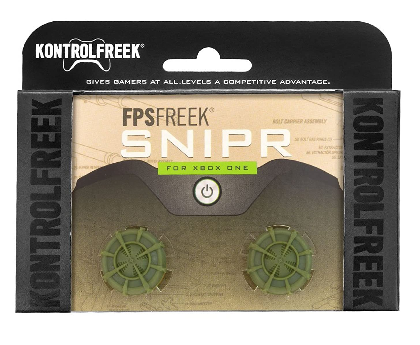 KontrolFreek FPS Freek Snipr for Xbox One Controller   Performance Thumbsticks   2 High-Rise Convex (Domed)   Green