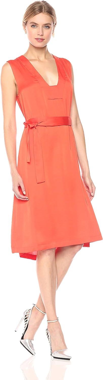 BCBGMAXAZRIA Womens Alesia Woven Sleeveless Tie Front Dress Dress