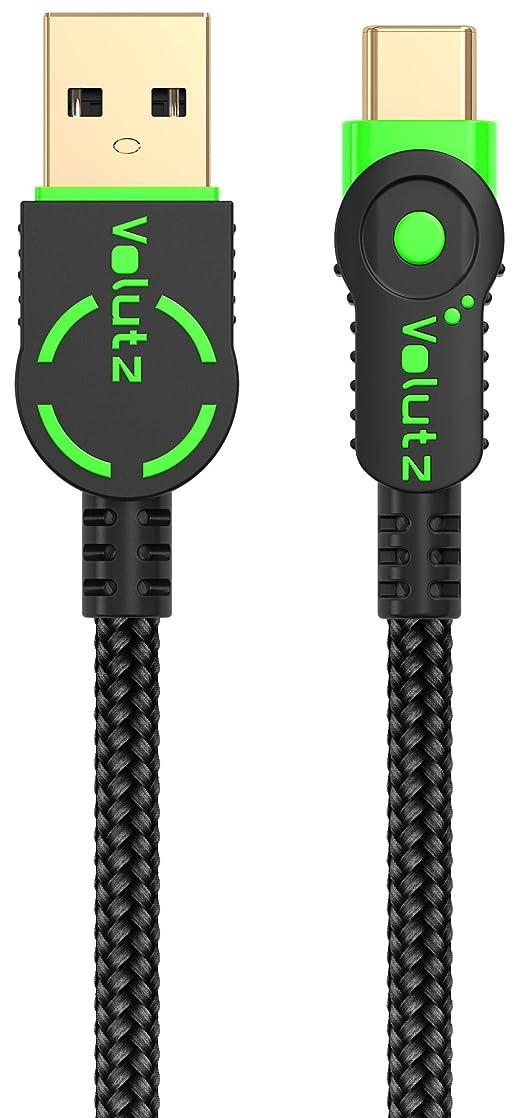 Volutz USB Type C ケーブル 2m 3A急速充電 耐衝撃コネクタ 高耐久ナイロン2重編みケーブル 高速データ転送 USB-Cケーブル Sony Xperia XZ/XZ2、Samsung Galaxy S10/S9/S8/Note、Nintendo Switch その他タイプC機器対応(グリーン)