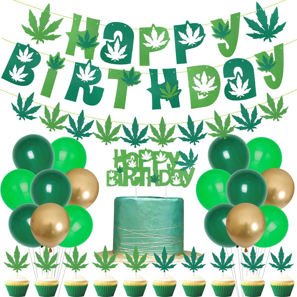Decoración de cumpleaños Dope Weed Happy Birthday Banner de fieltro con hojas de maleza temáticas para cupcakes 420 suministros de fiesta de cumpleaños