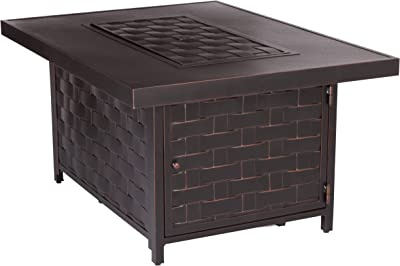 Fire Sense Armstrong Rectangular Aluminum LPG Fire Pit Table | Antique Bronze Finish | 50,000 BTU Output | Uses 20 Pound Propane Tank | Fire Bowl Lid, Vinyl Weather Cover, and Clear Fire Glass
