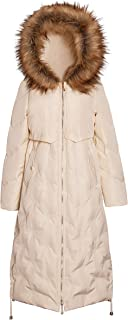 Duck Down Coat with Faux Fur Hood for Women Full Length Ladies Duck Down Coat