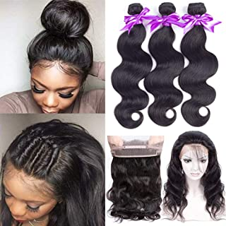 360 Lace Frontal with Bundles (14 16 18 +12inch) Brazilian Body Wave Bundles with 360 Frontal Closure 100% Unprocessed Brazilian Virgin Hair 3 Bundles with Lace Closure