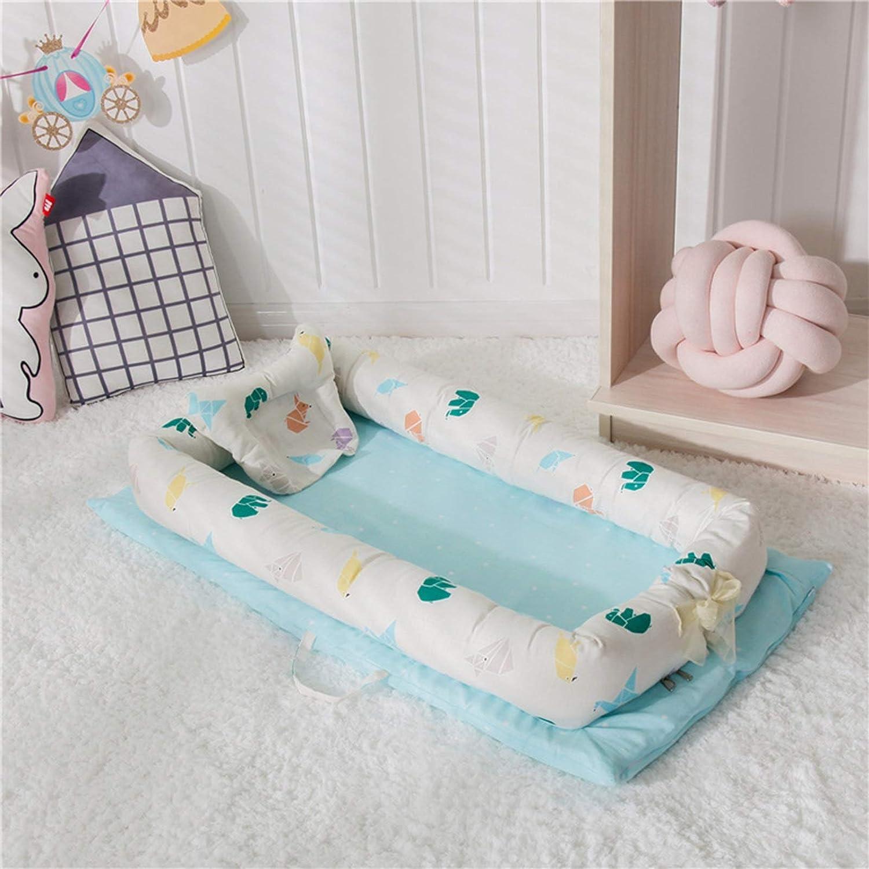 WUQIANG Nid Bébé Bébé bionique lit Amovible et Lavable bébé lit bébé Portable bébé Berceau Pliable dormeur bébé nid for bébé Nouveau-né Pare-Chocs (Color : Gray) Blue