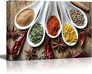 "wall26 Canvas Prints Wall Art - Still Life Various of Spices on Rustic Wooden Table Food/Kitchen Concept | Modern Wall Decor/Home Decoration Stretched Gallery Canvas Wrap Giclee Print - 12"" x 18"""