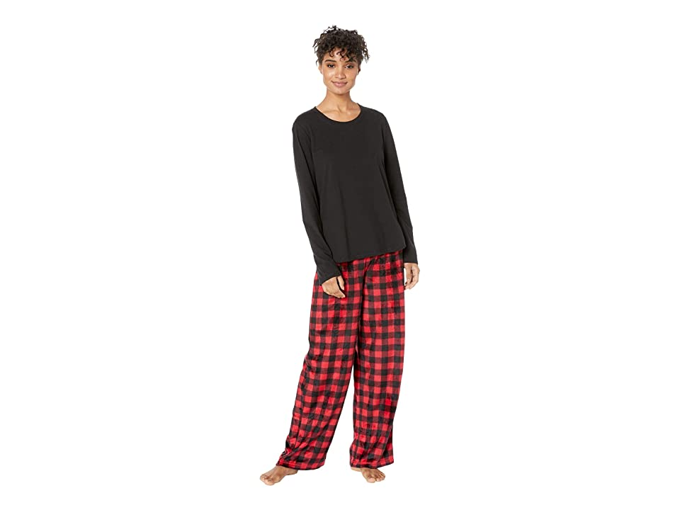 Karen Neuburger Buffalo Plaid Family Long Sleeve Pullover Pj Set (Cherry) Women