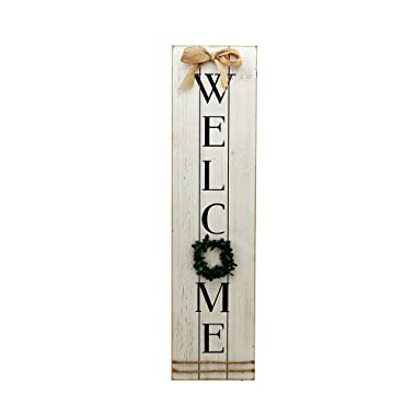 Parisloft Vertical Wooden Welcome Sign Plaque with Wreath Wall Hanging Decor|Large Farmhouse Decor for Entryway,Front Door