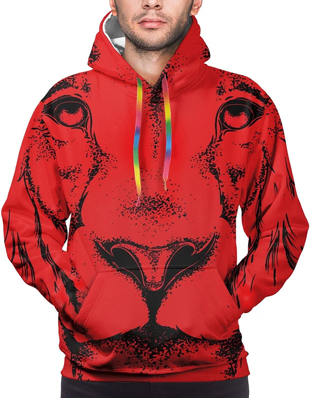 Hoodie For Mens Womens Teens Animal Head Lion Red Hoodies Outdoor Sports Sweater