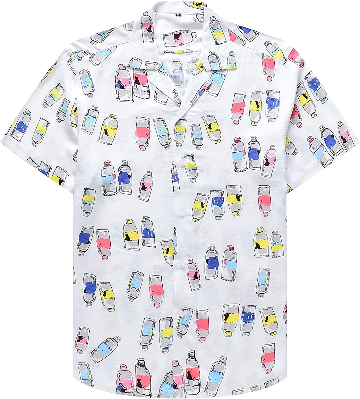 Men's Africal Vintage Printed Tops Casual Button Down Hawaiian T-Shirt Short Sleeve Floral Beach Shirts
