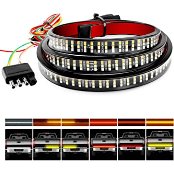 """Nilight TR-04 Truck Tailgate Bar 60"""" Triple Row 504 LED Strip with Red Brake White Reverse Sequential Amber Turning Signals Strobe Lights,2 Years Warranty"""