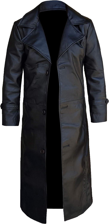 Black Leather Trench Coat Mens Full Length - Leather Duster Coat For Men