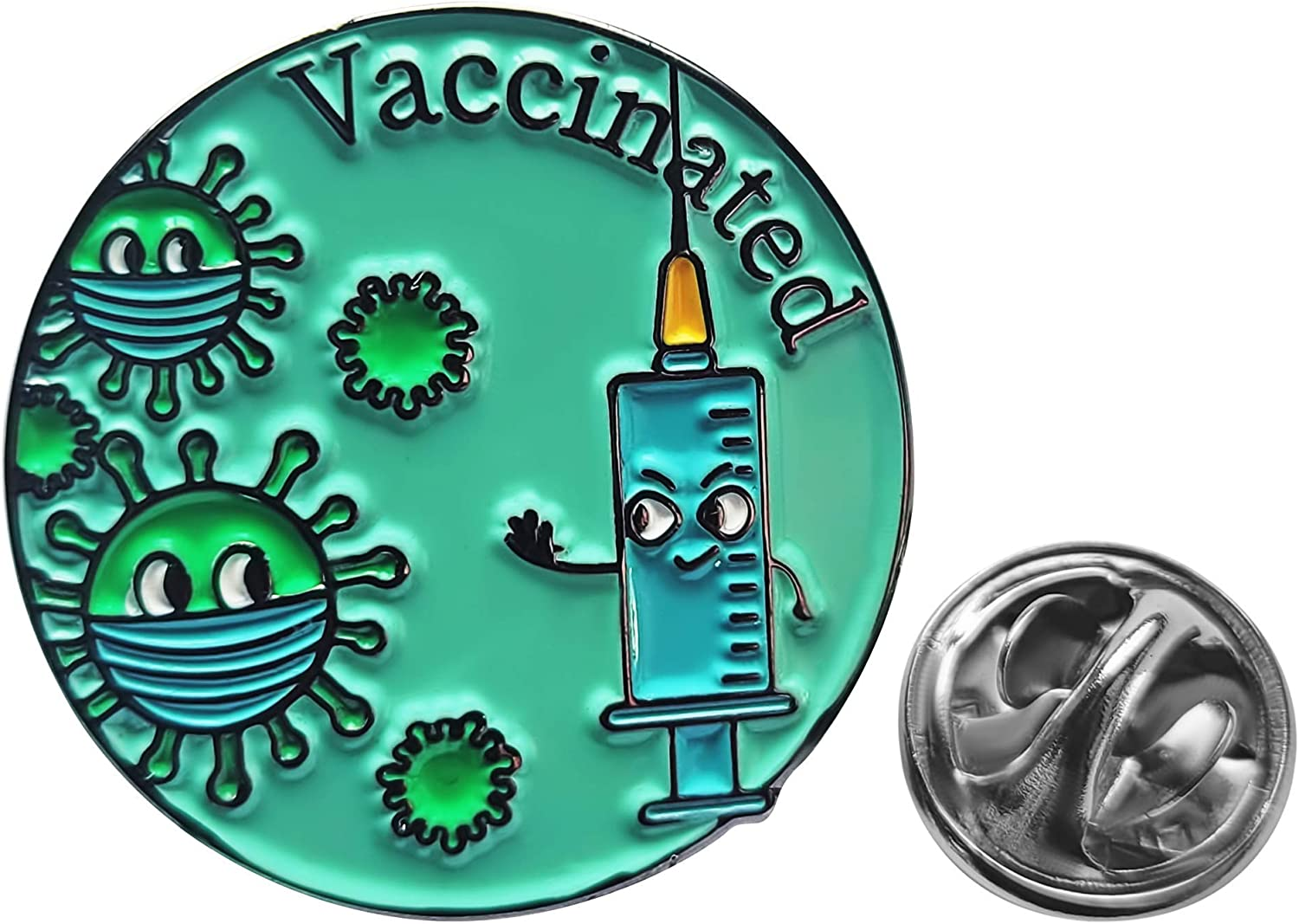 Vaccinated Pin – 25mm Enamel Vaccine Pin – Funny Button Pin Ideal for Shirt, Backpack – Unique Design and Modern Color – Ideal Support Pin for Nurses, Front Line Workers
