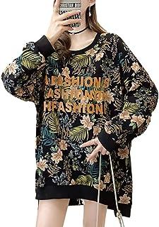 [サフィーブラウ] レディース トレーナー Tシャツ 長袖 薄手 ロゴ ボタニカル柄 ビッグシルエット