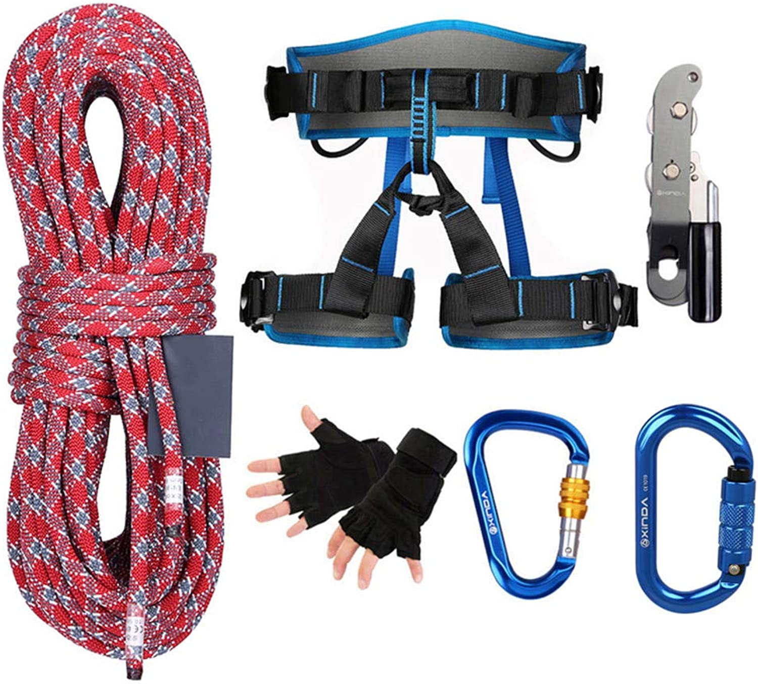 Climbing Kit Outdoor Cable Drop Set Mountaineering Static Climbing Rope Speed Drop Rope Safety Equipment  7 Pieces