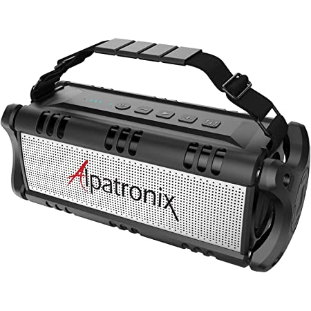 Waterproof Bluetooth Speaker 60W (80W Max), Portable Wireless, 8000mAh Power Bank, Shockproof, TWS, DSP, Stereo, Subwoofer, TF Card, NFC, Equalizer, Alpatronix AX500, Indoor & Outdoor – Black