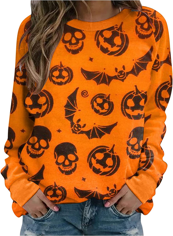 AODONG Halloween Sweatshirts for Women,Womens Funny Pumpkin Costumes Pullover Tops Long Sleeve Crewneck Sweater Blouse