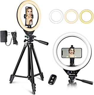 UBeesize 10'' LED Ring Light with Stand and Phone Holder, Selfie Halo Light for Photography/Makeup/Vlogging/Live Streaming...