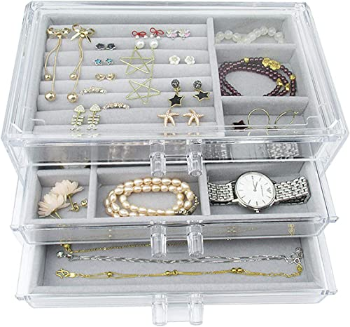 Acrylic Jewelry Box 3 Drawers, Velvet Jewellery Organizer, Earring Rings Necklaces Bracelets Display Case Gift for Wo...
