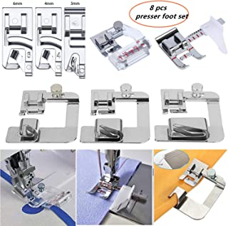YEQIN Sewing Machine Feet, 3Pcs Narrow Rolled Hem Presser Feet, 3Pcs Rolled Hem Pressure Foot & Adjustable Guide Presser Foot, Bias Binder Foot Compatible with Brother, Singer, Janome etc
