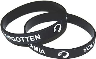 Stars and Stripes POW MIA You are Not Forgotten Military Memorial Silicone Wristband Bracelet