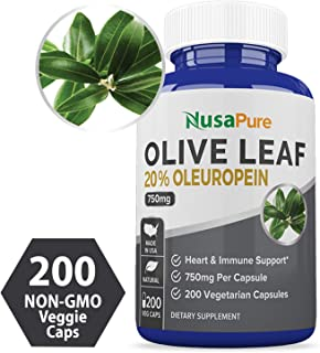 Olive Leaf Extract 20% 200 Caps (Non-GMO & Gluten Free) 750 mg - Oleuropein - Vegetarian - Super Strength - Immune Support, Cardiovascular Health & Antioxidant Supplement - No Oil
