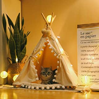 little dove Pet Teepee House Fold Away Pet Tent Furniture Cat Bed with Cushion 28 Inch Beige Pompom(with/Without Pad as You Choose