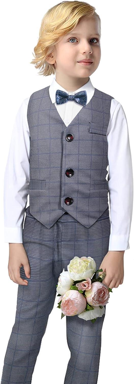 Boys Dress Suit Set Winter Boy Clothes Set Long Sleeves Shirt+Gentleman Vest+Pants+Bowtie Kids Wedding Outfit Set