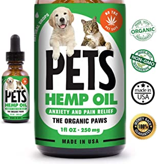 Organic Hemp Oil for Pets - Herbal Drops - Separation Anxiety and Pain Relief - Stress Support - Calming Effect - Supports Hip & Joint Health - Reduce Pain and Inflammation - 100% Natural