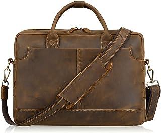 """Jack&Chris Genuine Brown Leather Briefcase Bag Mens Messenger Bag 14"""" Laptop Bag, NM1864"""
