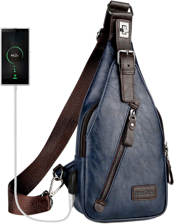 Alena Culian Sling Bag Men Leather Chest Bag Crossbody Shoulder Bag for Men (blueee1)