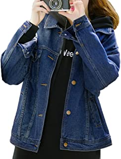 Loose Blue Denim Jackets for Women,Navy Blue Jean Jacket Women,Long Sleeve Womens