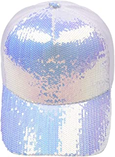 Floridivy Summer Women Sequin Sparkly Bling Butterfly Peaked Cap Hat Studded Rhinestone Pearl Cotton Baseball Cap