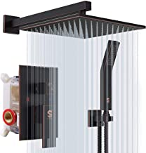 SR SUN RISE Oil Rubbed Bronze Shower System 12 Inch Brass Bathroom Luxury Rain Mixer Shower Combo Set Wall Mounted Rainfall Shower Head System Shower Faucet Rough-in Valve Body and Trim Included