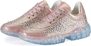 Santiro Women Walking Sneakers Crystal Rhinestone Platform Fashion Bling Casual Shoes