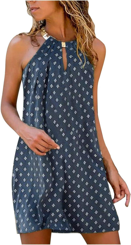 Mini Dress for Women,Womens Mini Dresses Summer Casual Halter Neck Sleeveless Beach Boho Sun Dresses