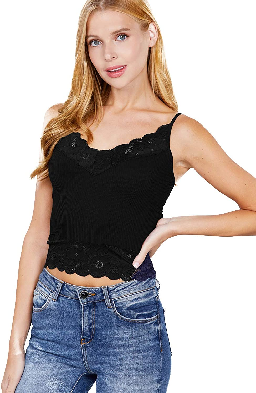 Women's Stylish V Neck Lace Straps Cami Tank Top