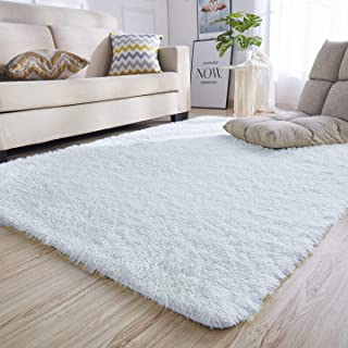Junovo Rectangle Ultra Soft Area Rugs Fluffy Carpets for Bedroom Living Room Shaggy Floor Rug Home Decor Mats, 4 x 5.3ft, White