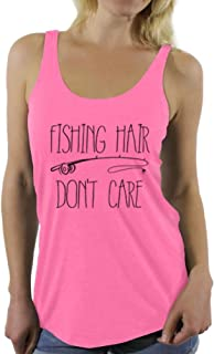 Awkward Styles Women's Fishing Hair Don`t Care Racerback Tank Tops with A Fishing Rod