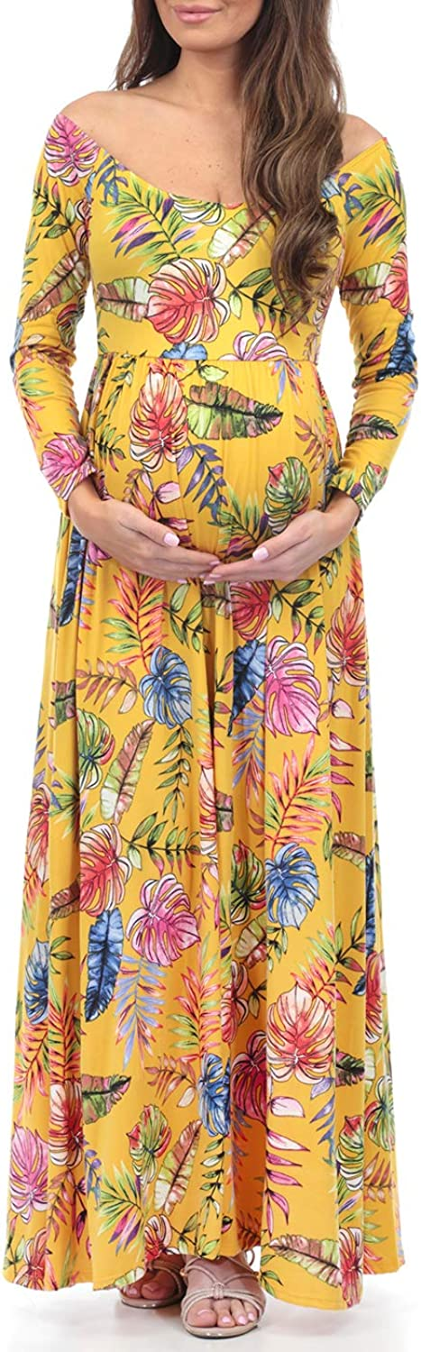 Women's Ruched Open Shoulder Maternity Dress  Made in USA (XLarge, Yellowtropical)