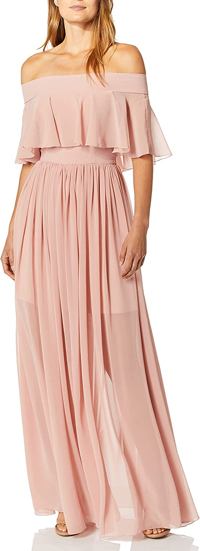 Dress the Population Women's Violet Off The Shoulder Maxi Dress Long Gown, Blush, S